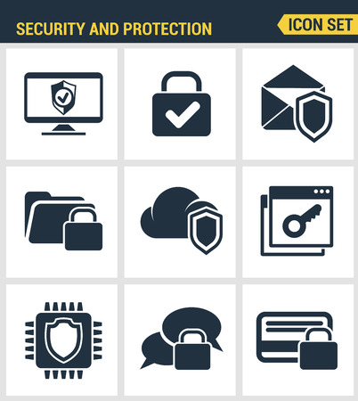 Icons set premium quality of cyber security, computer network protection. Modern pictogram collection flat design style symbol collection. Isolated white background. Stock Illustratie