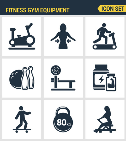 intensive care: Icons set premium quality of fitness gym equipment, sports recreation activity. Modern pictogram collection flat design style symbol collection. Isolated white background.
