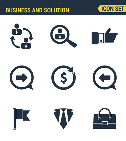 doing business: Icons set premium quality of doing business elements, solution for clients. Modern pictogram collection flat design style. Isolated white background.