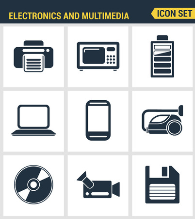 multimedia pictogram: Icons set premium quality of home electronics and personal multimedia devices. Modern pictogram collection flat design style. Isolated white background. Illustration