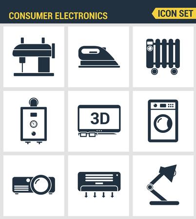 Icons set Premium-Qualität von Haushaltsgeräten, Haushaltsunterhaltungselektronik. Moderne Piktogramm Sammlung flache Design-Stil Symbolsammlung. Isolierte weißem Hintergrund.