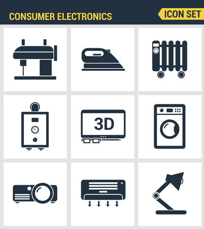 consumer electronics: Icons set premium quality of home appliances, household consumer electronics. Modern pictogram collection flat design style symbol collection. Isolated white background. Illustration