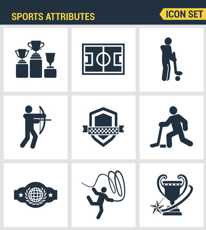 attributes: Icons set premium quality of sports attributes, fans support, club emblem. Modern pictogram collection flat design style symbol collection. Isolated white background.