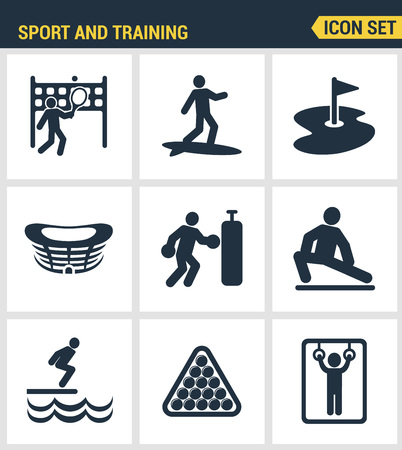 surfing the net: Icons set premium quality of outdoor sports training, various athletic activity Modern pictogram collection flat design style symbol collection. Isolated white background. Illustration