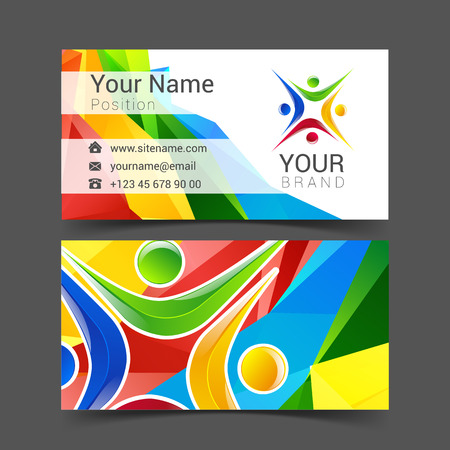network card: social network card  design green and blue abstract template set