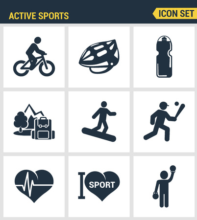 palpitations: Icons set premium quality of active sports love sports sportsman vector icon. Modern pictogram collection flat design style symbol collection. Isolated white background.