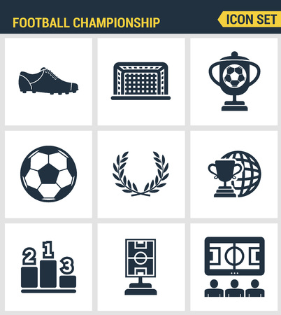sports bar: Icons set premium quality of football championship soccer game world cup. Modern pictogram collection flat design style symbol collection. Isolated white background.