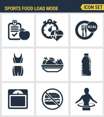 palpitations: Icons set premium quality of fitness icon. Sports food load mode burn calories healthy food diet fitness. Modern pictogram collection flat design style symbol collection. Isolated white background.