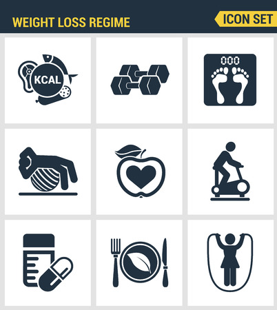 regime: Icons set premium quality of weight loss regime fitness gymnastics gum icon set . Modern pictogram collection flat design style symbol collection. Isolated white background.