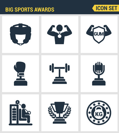 commentator: Icons set premium quality of big sports awards championship champ winner cup sport victory. Modern pictogram collection flat design style symbol collection. Isolated white background.