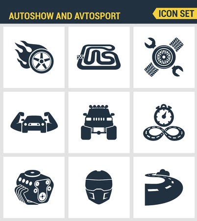 monster truck: Icons set premium quality of autoshow and avtosport monster truck engine car racing rally muscle car. Modern pictogram collection flat design style symbol collection. Isolated white background. Illustration