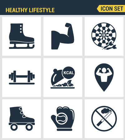 smoking ban: Icons set premium quality of healthy lifestyle icon set collection gym rollers baseball fitness sport. Modern pictogram collection flat design style symbol collection. Isolated white background. Illustration