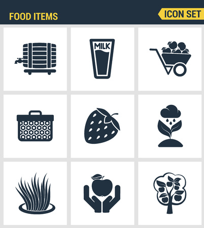 food industry: Icons set premium quality of food Items business industry farm products plant fruit. Modern pictogram collection flat design style symbol collection. Isolated white background.