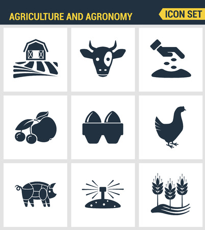 agronomy: Icons set premium quality of agriculture and agronomy icon set farming feeding business. Modern pictogram collection flat design style symbol collection. Isolated white background.