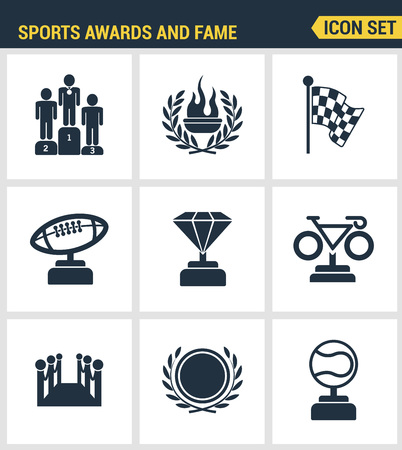 honor: Icons set premium quality of awards and fame emblem sport victory honor. Modern pictogram collection flat design style symbol collection. Isolated white background.