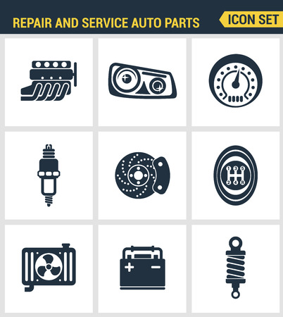disk break: Icons set premium quality of repair and service auto parts automotive tools garage. Modern pictogram collection flat design style symbol collection. Isolated white background. Illustration