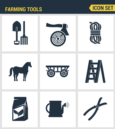 farm equipment: Icons set premium quality of farming tools instrument farm equipment agricultural. Modern pictogram collection flat design style symbol collection. Isolated white background.