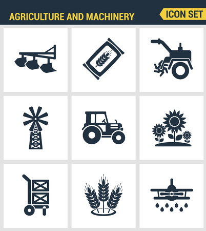 agriculture machinery: Icons set premium quality of agriculture and machinery transportation tractor technology. Modern pictogram collection flat design style symbol collection. Isolated white background.