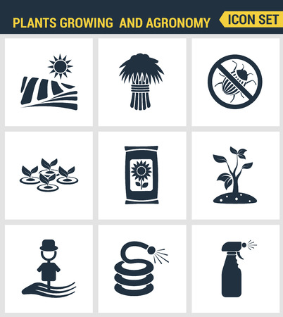 agronomy: Icons set premium quality of plants growing and agronomy farming farmer bio stem. Modern pictogram collection flat design style symbol collection. Isolated white background.
