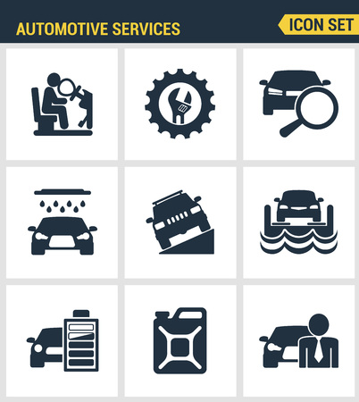 airbag: Icons set premium quality of automotive services transportation technician system. Modern pictogram collection flat design style symbol collection. Isolated white background.