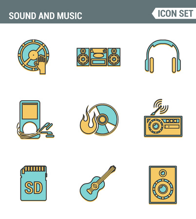 multimedia pictogram: Icons line set premium quality of sound symbols and studio equipment, music instruments, audio multimedia objects. Modern pictogram collection flat design style. Isolated white background