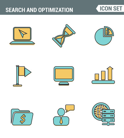 website traffic: Icons line set premium quality of website searching engine optimization, seo analytics and data management, webpage traffic development. Modern pictogram collection flat design style