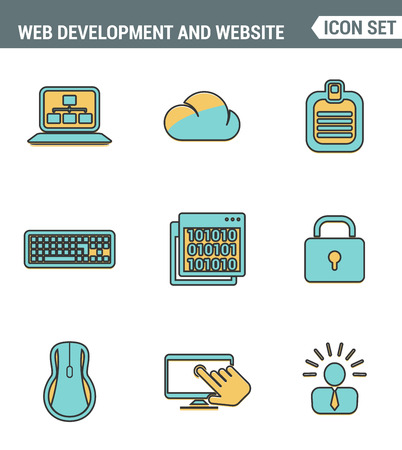 web application: Icons line set premium quality of web development and website programming process, webpage coding user interface creating. Modern pictogram collection flat design style. Isolated white background