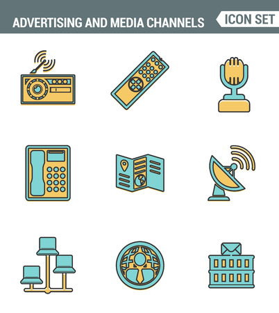 media distribution: Icons line set premium quality of advertising media channels and ads distribution. Modern pictogram collection flat design style. Isolated white background Illustration