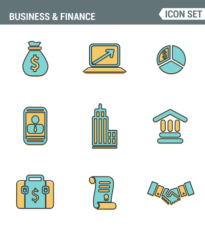 economic development: Icons line set premium quality of business economic development, financial growth. Modern pictogram collection flat design style. Isolated white background Illustration