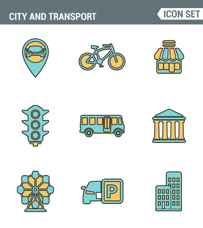 recreation rooms: Icons line set premium quality of various city elements, street transportation sign. Modern pictogram collection flat design style. Isolated white background Illustration