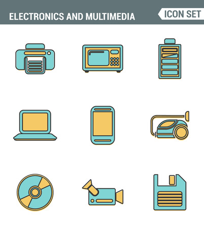 multimedia pictogram: Icons line set premium quality of home electronics and personal multimedia devices. Modern pictogram collection flat design style. Isolated white background
