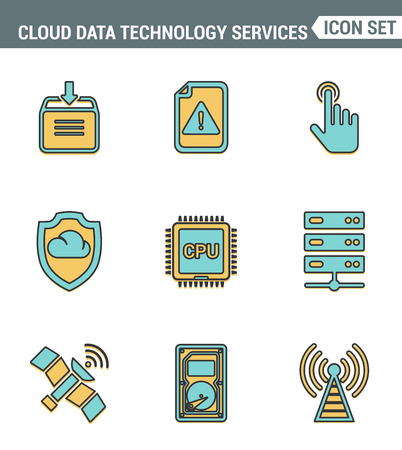 syncing: Icons line set premium quality of cloud data technology services, global connection. Modern pictogram collection flat design style. Isolated white background