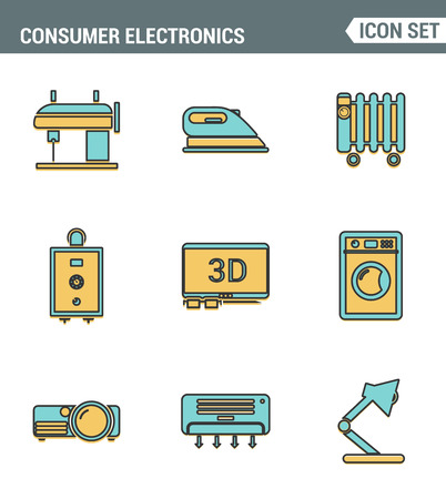consumer electronics: Icons line set premium quality of home appliances, household consumer electronics. Modern pictogram collection flat design style symbol . Isolated white background.