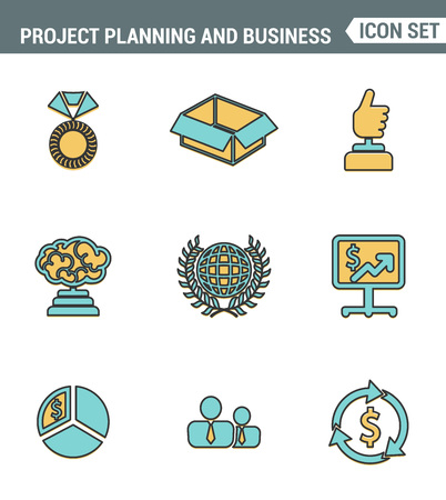 career timing: Icons line set premium quality of project planning and business workflow development. Modern pictogram collection flat design style symbol . Isolated white background.