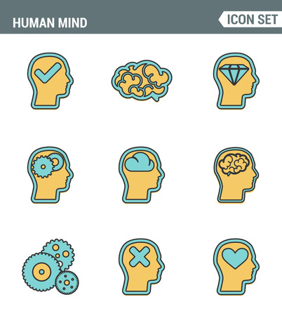 intellectually: Icons line set premium quality of human mind process, brain features and emotions. Modern pictogram collection flat design style symbol . Isolated white background