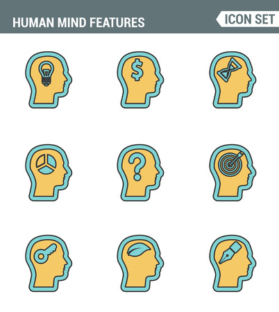 mind set: Icons line set premium quality of human mind features, characters profile identity. Modern pictogram collection flat design style symbol . Isolated white background