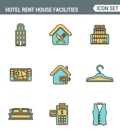 amenities: Icons line set premium quality of hotel service amenities, rent house facilities. Modern pictogram collection flat design style symbol . Isolated white background