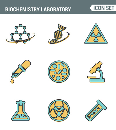 genetic modification: Icons line set premium quality of biochemistry research, biology laboratory experiment. Modern pictogram collection flat design style symbol . Isolated white background