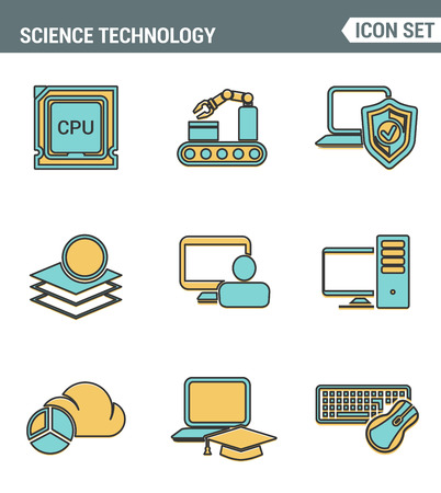 learning process: Icons line set premium quality of data science technology, machine learning process. Modern pictogram collection flat design style symbol . Isolated white background
