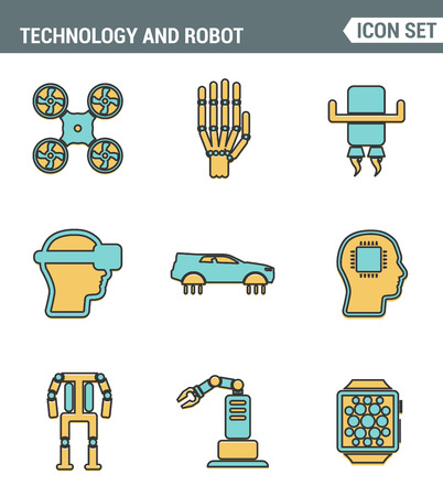 advanced computing: Icons line set premium quality of future technology and artificial intelligent robot. Modern pictogram collection flat design style symbol . Isolated white background Illustration