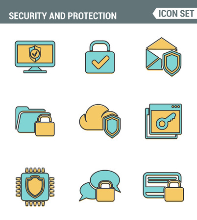 ddos: Icons line set premium quality of cyber security, computer network protection. Modern pictogram collection flat design style symbol . Isolated white background