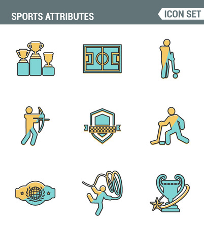 attributes: Icons line set premium quality of sports attributes, fans support, club emblem. Modern pictogram collection flat design style symbol . Isolated white background Illustration
