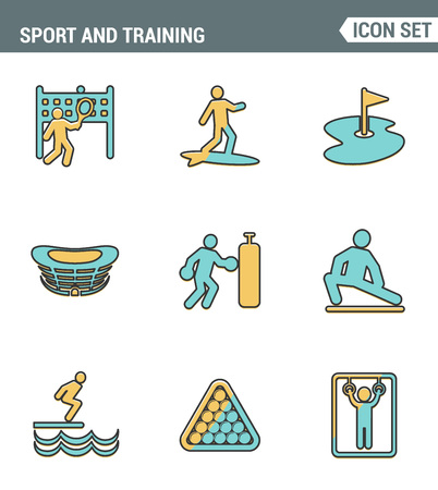 outdoor sports: Icons line set premium quality of outdoor sports training, various athletic activity Modern pictogram collection flat design style symbol . Isolated white background