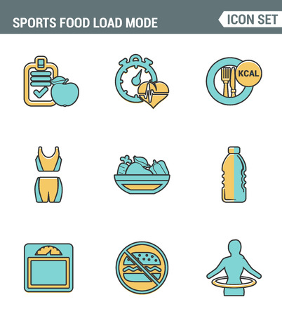palpitations: Icons line set premium quality of fitness icon. Sports food load mode burn calories healthy diet. Modern pictogram collection flat design style symbol. Isolated white background Illustration