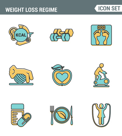 food hygiene: Icons line set premium quality of weight loss regime fitness gymnastics gum icon . Modern pictogram collection flat design style symbol . Isolated white background