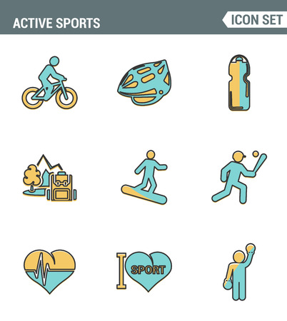 palpitations: Icons line set premium quality of active sports love sportsman vector icon. Modern pictogram collection flat design style symbol . Isolated white background Illustration
