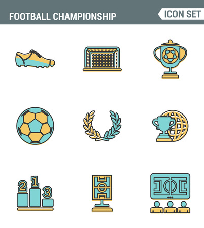 sports bar: Icons line set premium quality of football championship soccer game world cup. Modern pictogram collection flat design style symbol. Isolated white background