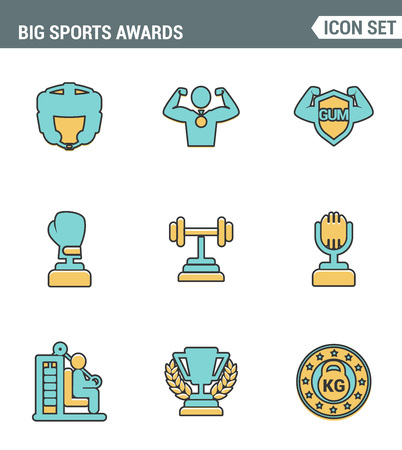 commentator: Icons line set premium quality of big sports awards championship champ winner cup sport victory. Modern pictogram collection flat design style symbol . Isolated white background Illustration