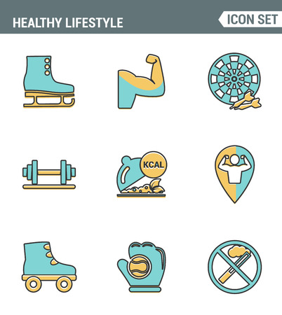 smoking ban: Icons line set premium quality of healthy lifestyle icon collection gym rollers baseball fitness sport. Modern pictogram flat design style symbol . Isolated white background