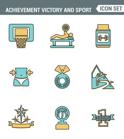 first place: Iconos de línea de set de primera calidad de achiement deporte victoria icono campeón primer lugar. Moderno símbolo de estilo de diseño colección de plano pictograma. fondo blanco aislado